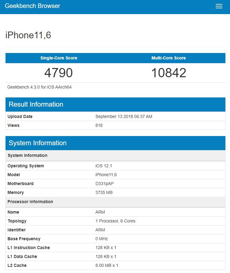 iPhone Xs v benchmarku