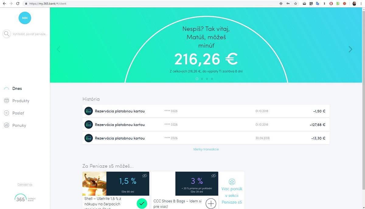 365.bank a jej webová aplikácia