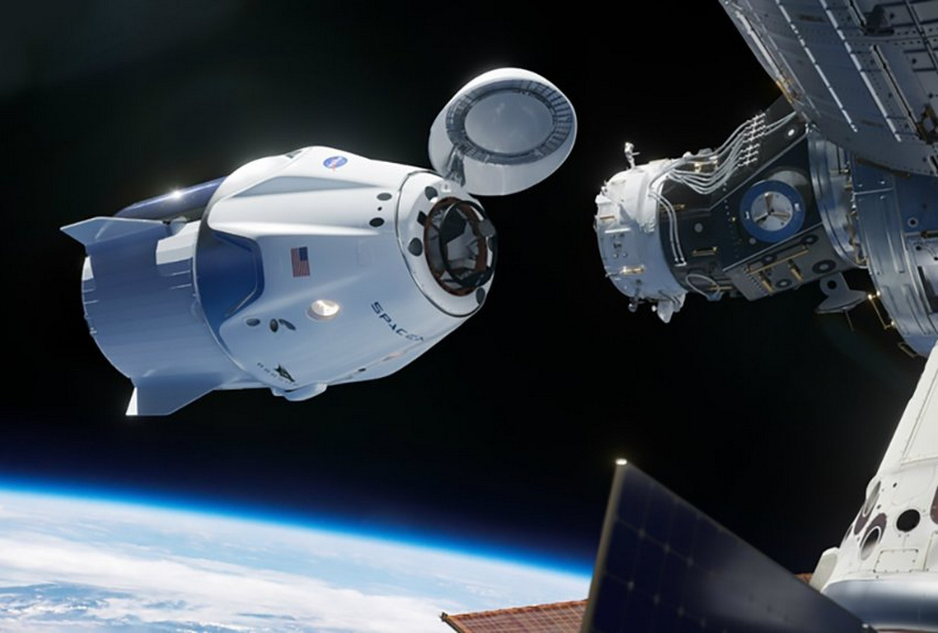 video nasa spacex iss crew dragon autonomne zakotvila vesmirna lod
