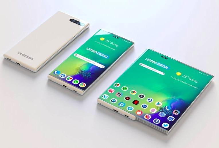 Render smartfónu s vysúvacím displejom