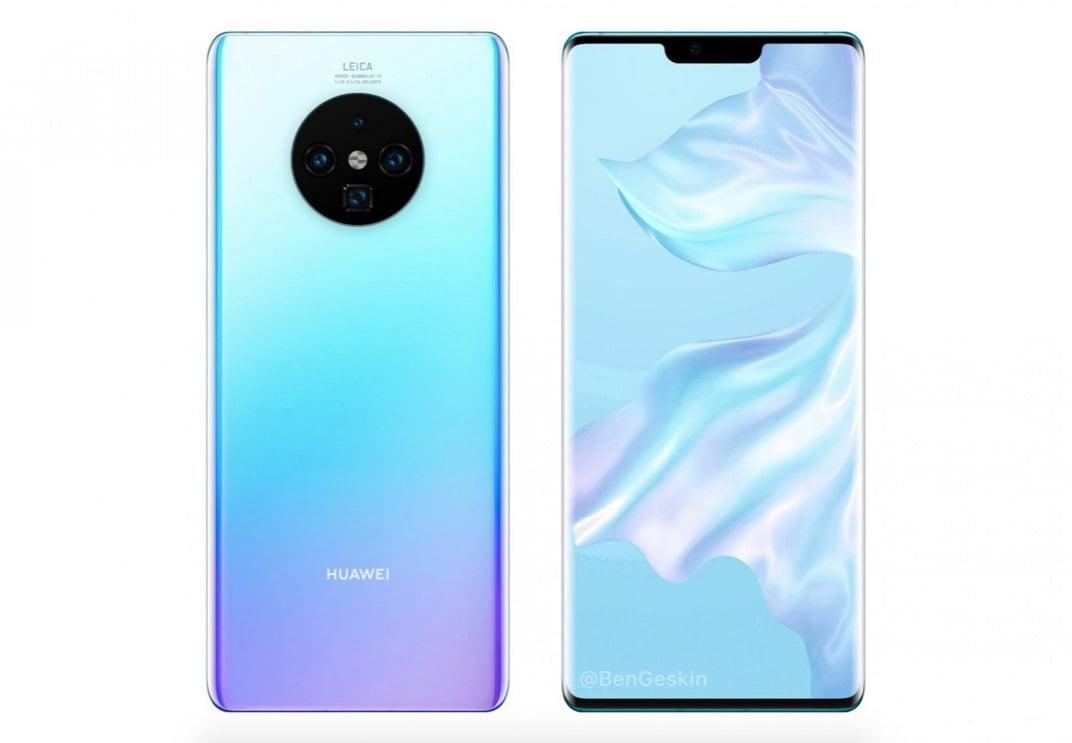 Render možnej podoby Huawei Mate 30 Pro