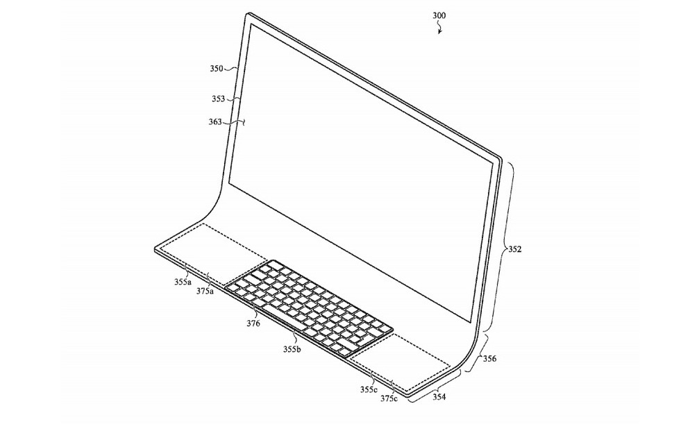 Jeden z náčrtov z patentu Apple