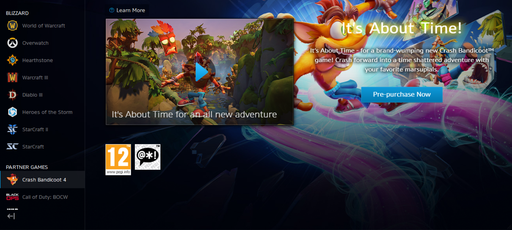 Crash Bandicoot pre PC (Battle.net)